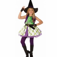 New Sexy Girls Masquerade Halloween Party Witch Costumes Outfit Childrens Fancy Cosplay  princess Dresses Size S-XL With Hat