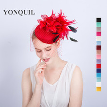 2017 New design Red fascinator hats silk flower decoration pillbox hats with hair bands bridal veil hair accessories SYF156