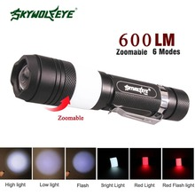 High Quality 6 Mode XM-L T6 600LM Tactical 2 led Torch Zoomable cree LED Flashlight Torch light by 18650 battery + USB Cable