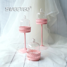 High feet Cupcake holder with PC dome pink 3 size for choose baby girl birthday table decor candy bar supplier