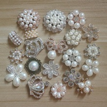20pcs/lot Mix 20styles silver/gold base rhinestone pearl hair embellishments buttons hairbow center decoration HBCS369