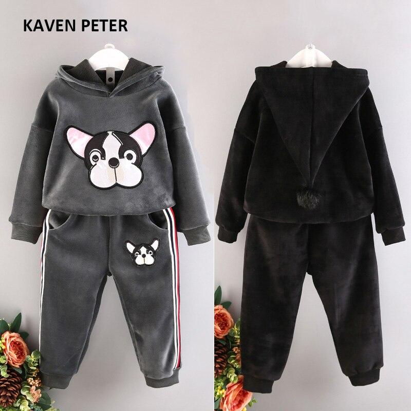 Child Winter sports suit 2017 fashion kids sportswear pleuche girls hooded jacket long-sleeved sport suit boys animal wear <br>