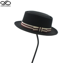 LUCKYLIANJI Men's Women's Wool Felt Rocker Fedora Pork Pie Bowler Hat with Bowknot Band for Party Dance Jazz Cap(China)