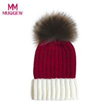 MUQGEW Baby Cap Cute Boys Girls Hat Cotton High Quality Knitted Faux Fur Ball Warm Children Hats New Winter Fashion Unisex caps(China)
