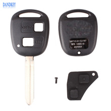 Dandkey Portable Toyota 2 Button Car Remote Key Shell Case Replacement For Corolla / RAV4 / Prado / Yaris / Camry + Button Pad