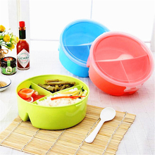 1 pc Round Shape Lunch Box Food-Grade Plastic Food Storage Container Picnic Lunch Box With Spoon Microwave Cutlery Set