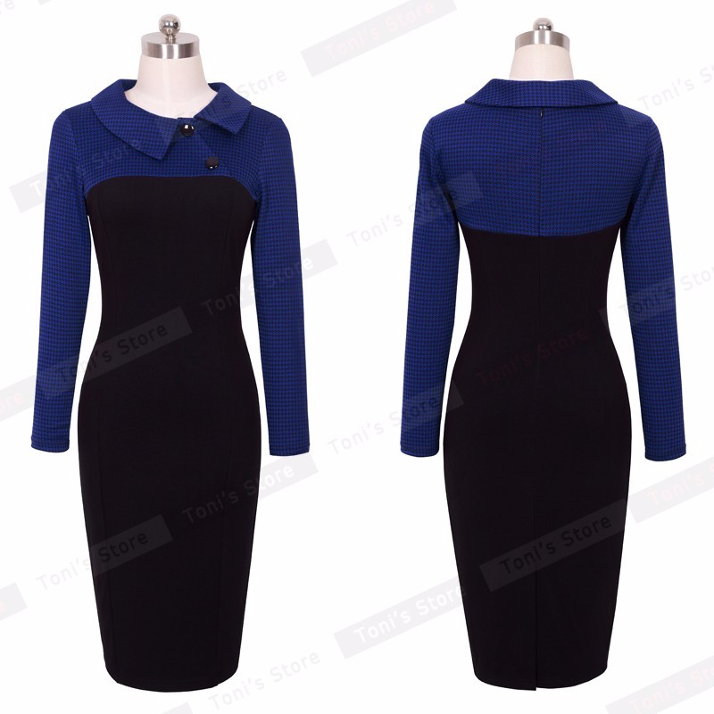 Nice-forever Elegant Vintage Fitted winter dress full Sleeve Patchwork Turn-down Collar Button Business Sheath Pencil Dress b238 18