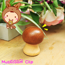 Kawaii Mushroom Cute Building Shaped Office Supplies Accessories Wooden Photo Binder Memo Holder Paper Clips