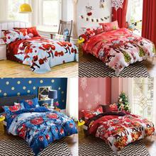 Ouneed 4 Pcs Bed Linen Home Textile Christmas Bedding Set Duvet Cover Bed Sheet Pillowcases Happy Sale ap503(China)