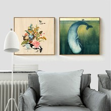 Baby Shower Gifts Swimming Fish and Flowers Cartoon Animals Canvas Painting Wall Poster Pictures Hanging Craft For Bedroom Home
