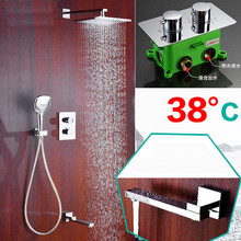 Buy Bathroom Shower Faucet Brass Embedded Thermostatic control switch mixing valve taps Concealed Tub three function Shower sets SS1 for $196.65 in AliExpress store