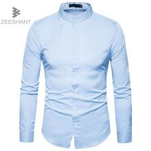 Zeeshant Men's Slim-Fit Wrinkle-Free Solid Dress Shirt Long Sleeve Formal Bussiness Comfortable Soft Button Tuxedo Shirts XXL(China)