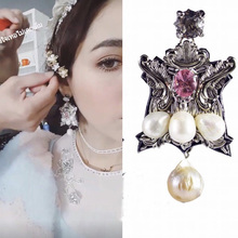 Thai designer tide brand retro palace carved silver pearl earrings fashion wedding queen accessories   980