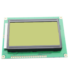 Yellow green screen LCD12864 display with Chinese characters with backlight ST7920 serial port common(China)