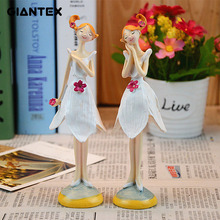 GIANTEX 2pcs/set Beautiful Stand Angel Resin Craft Fairy Figurines Wedding Gift Home Decoration U0945