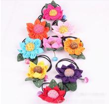 50 pieces national wind cloth floral Lovely Girls Lace Sunflower Rose Flowers Hairband Headband mix colors(China)