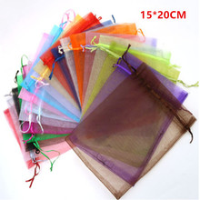 Organza Bag 15x20 cm Jewelry Packaging Display Pouches Wedding Christmas Organza Gift Bags jewelry bags & Pouches 100pcs/lot