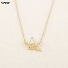hzew Min 1pc Gold Silver Plated Origami Crane Necklaces for Women Cute Bird Chain Necklaces 2015 Simple Couple Necklaces(China)