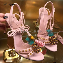 Latest Designed Lady Stiletto Lace Up Fringed Sandals Shoes Pink Leather Pineapple Rivest Embellished High Heels Dress Shoes