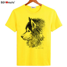 BGtomato Wolf T-shirts New style Tiger printing shirts for men Hot sale casual tops Original Brand clothes New tees cheap sale(China)