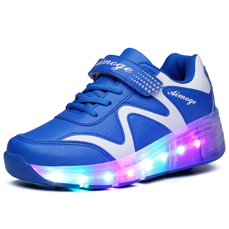 2017 New Wheel LED Shoes Light Fashion Children Shoes Girls Luminous Kid Shoes<br>