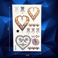 1PC Henna Healthy Flash Metallic Gold Tattoo Stickers AMC-J3029 Gold Heart Designs Flower Lace Waterproof Tattoo Children Tatoos