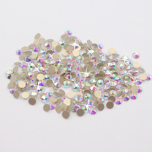 New 8 Big 8 Small Surfaces Nail Art Rhinestones CrystalAB Flatback Gold Back Glue On Rhinestones Strass Rhinestone For Nail