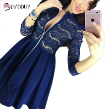 2017 Spring AutumnWomens Dresses Zipper V-Neck 3/4 Sleeve Sexy Lace Pleated Dress Female Party Mini A-Line Vestidos Plus size