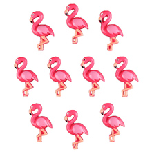 50pcs Cute Hot Pink 3D Flamingo Flatback Resin Scrapbooking Hair Bow Center Crafts Embellishment Flatback Charms Cabachons(China)