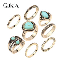 Gukin Luxury StoneRing Bohemian Jewelry Midi Set Plated Antique Gold Beach Knuckle Rings Set Christmas Gift Cheap Wholesale(China)
