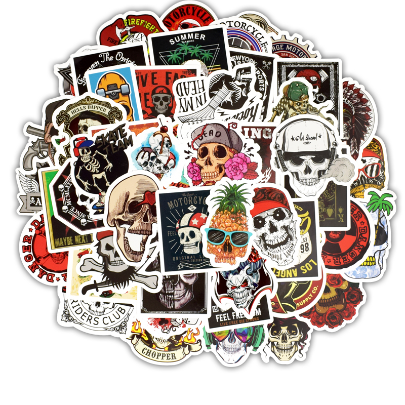 50PCS Mixed Retro Cartoon Ghost Graffiti Sticker For Laptop Skateboard Notebook