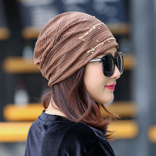 Autumn Winter Women Warm Hats Fashion Lace Rhinestone Decorate Leisure Cap Knitted Hat(China)