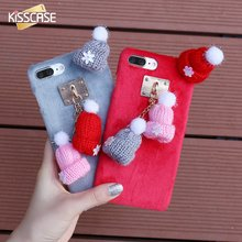 KISSCASE For iPhone 7 6S 6 Plus Case Cute Winter Warm Knitted Hat Anti-knock Girly Hair Fur Plush Pendant Back Cover Accessories