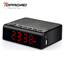 TOPROAD Desktop Bluetooth Speaker Wireless Stereo Alarm Clock Speakers with FM Time Display 18650 Battery altavoz for Phone(China)