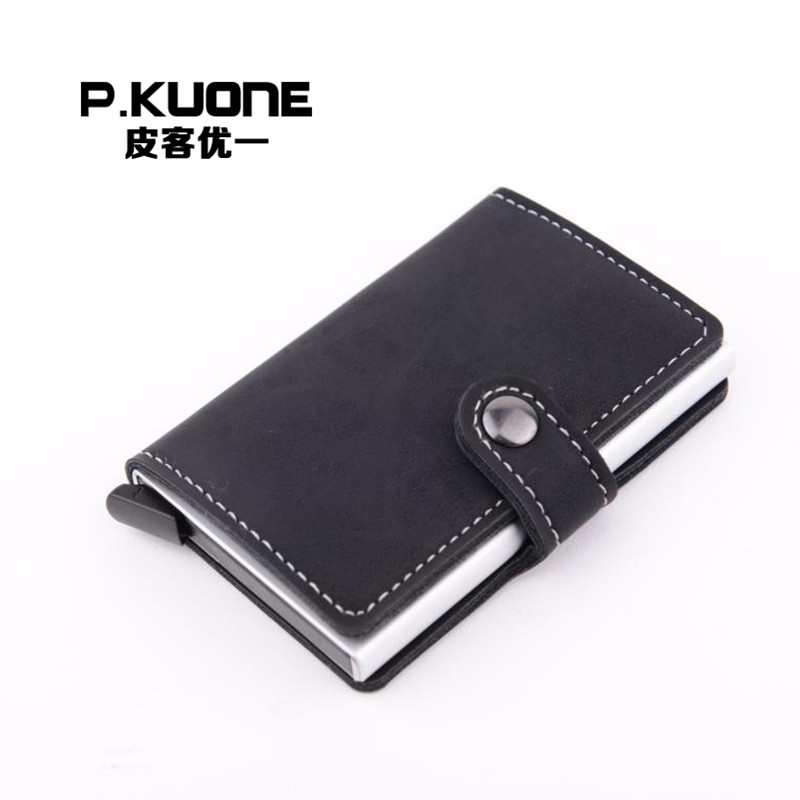 P.KUONE Card Holder RFID Blocking Mini Wallet 2017 High Quality PU Leather Safe Small Purse Antitheft Aluminum Solid Card Case<br><br>Aliexpress