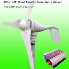 2017 Hot Selling Low Wind Speed Start 3 Blades 24V 400W Wind Turbine Generator & 600W Grid Tie Inverter