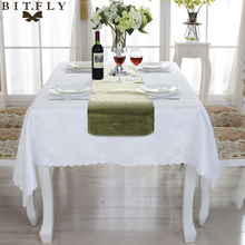 New Gray Khaki Burlap Table Runner Jute Imitated Linen Tablecloth Rustic Wedding Party Banquet Decoration Home Textiles overlay(China)