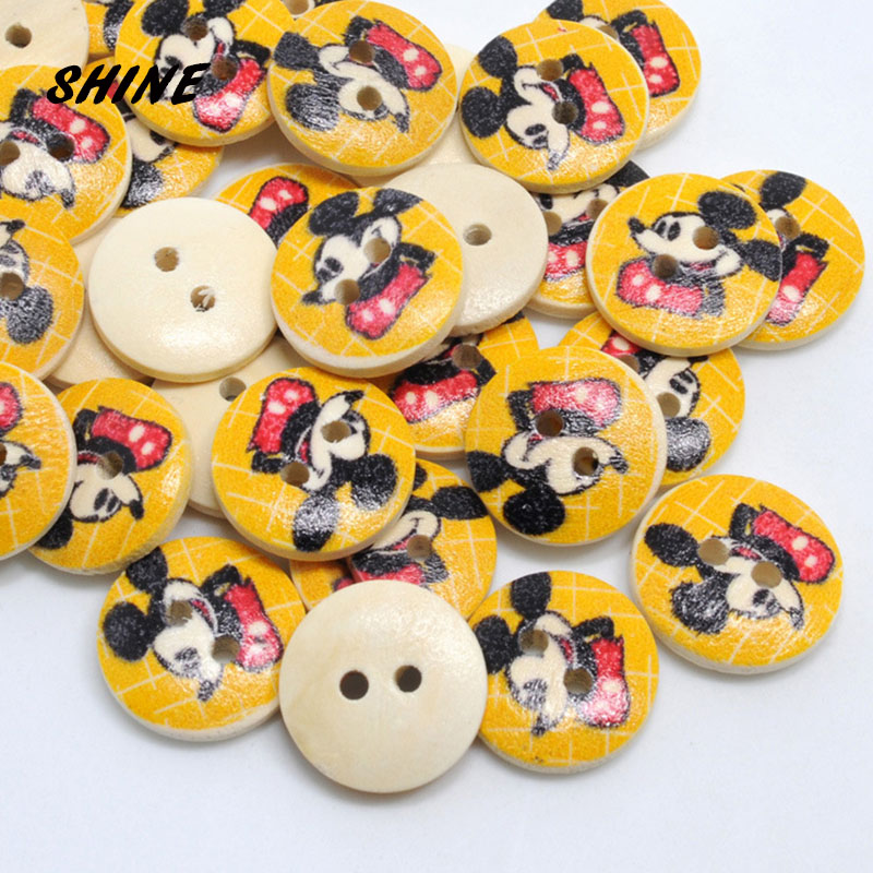 SEW -CARDS 20 WOODEN MICKEY MOUSE BUTTONS EMBELLISHMENTS SCRAPBOOK CRAFT