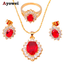 Party Sets  gold color Zircon Garnet Jewelry Sets Earrings Necklace Ring Sz #7.5  #6.5 #5.5 Fashion Jewelry JS136A