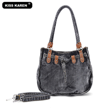 KISS KAREN Vintage Fashion Washed Denim Bags Jeans Womens Bag Luxury Tote Bag Women's Shoulder Bags Lady Handbags Casual Totes