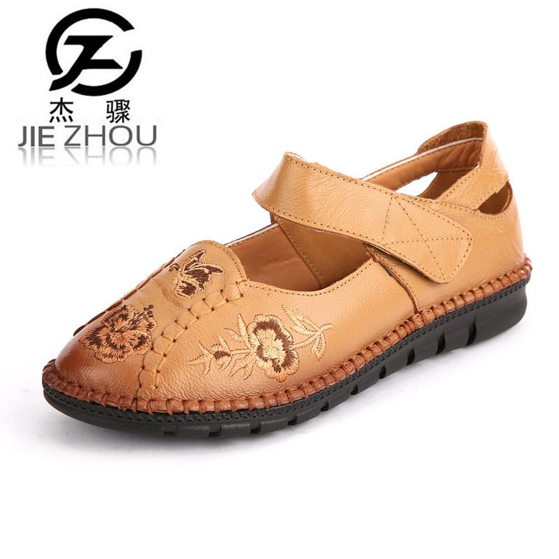 Spring autumn Genuine leather womens shoes Large size embroidered Female shoes Flats casual mother shoes zapatos mujer obuv<br>