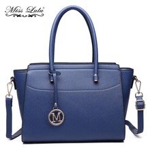 Miss Lulu (Buy 1, Get 1 at 50% Off) Women Faux Leather Winged Handbag Large Cross Body Shoulder Satchel Tote Bag Navy LT6627 NY