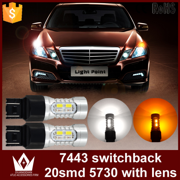 Guang Dian car led light Parking Lights reversing lamp Rear Lights Marker light car led Dual Color T20 7443 White+yellow<br><br>Aliexpress