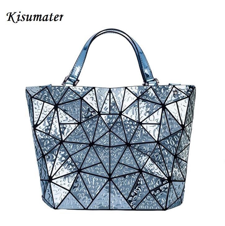 Kisumater 2017 baobao Bag Women Geometry lattic Totes water-drop shape Handbag PU Casual hologram bag Free Shipping bao bao<br>