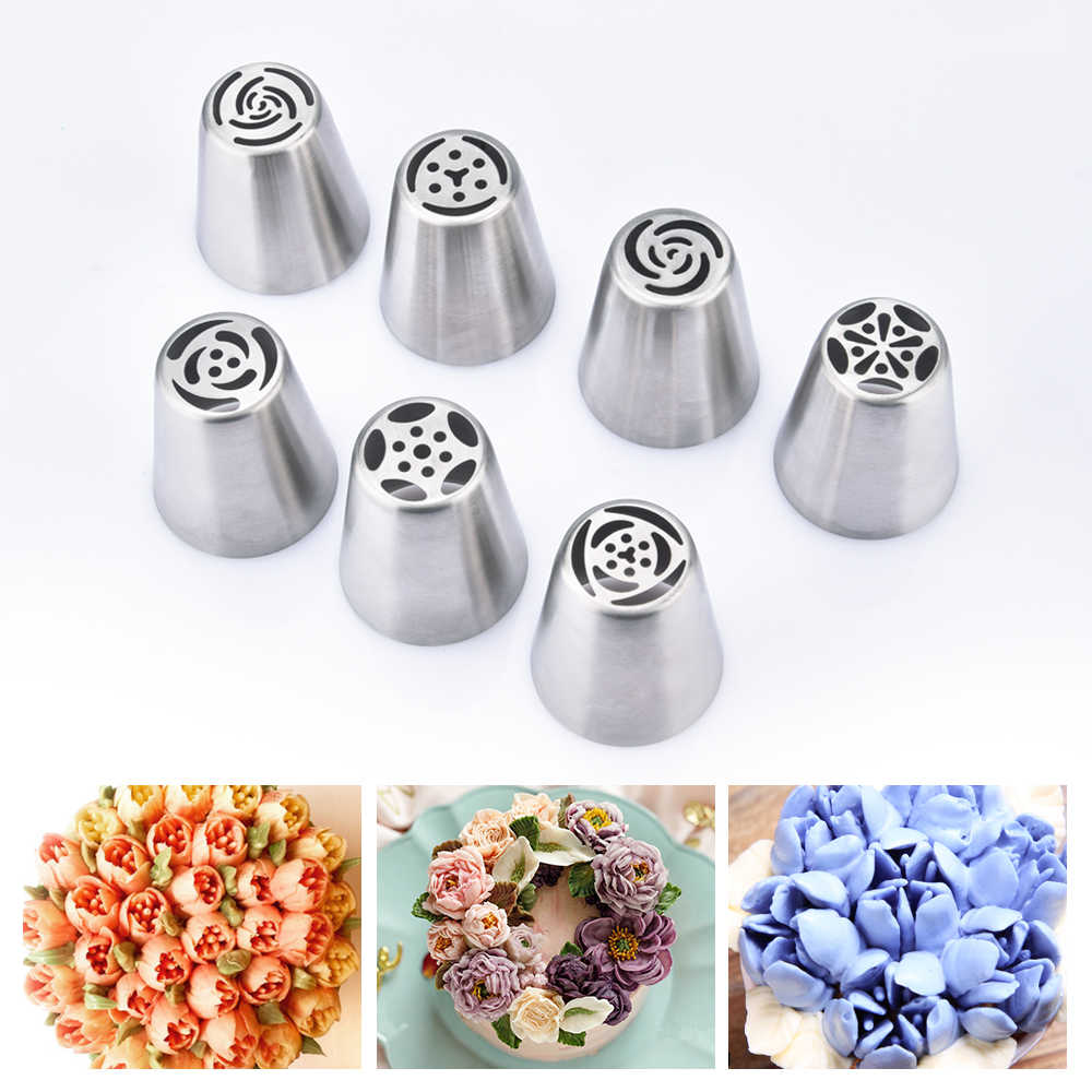 7pcs Cream Nozzles Stainless Steel Icing Piping Tips Rose Tulip Flower DIY  Cake Decoration Tool Kitchen Accessory Baking Supply
