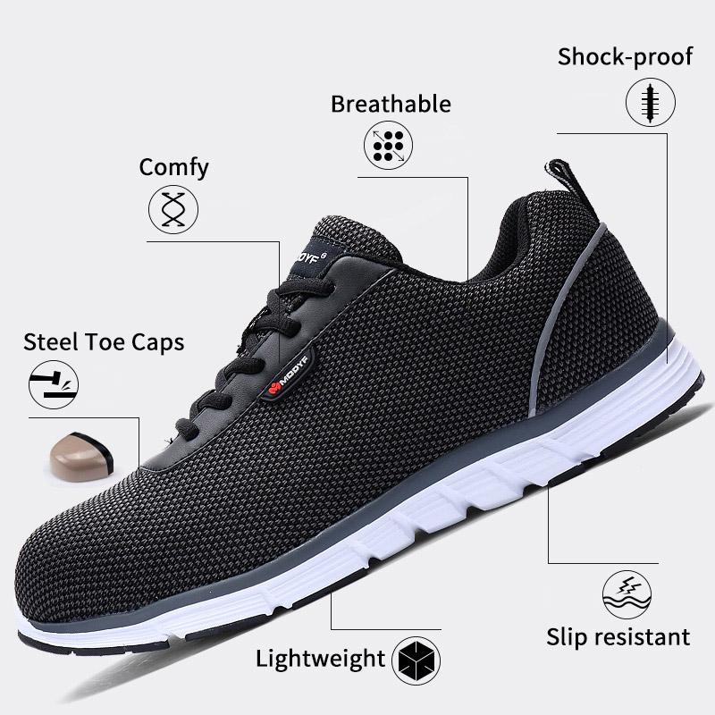 MODYF Men Safety Steel Toe Work Shoes Lightweight Breathable Casual Footwear 5