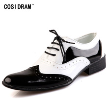 COSIDRAM Business Wedding Patent Leather Oxford Shoes For Men Dress Shoes Men Formal Shoes Pointed Toe RME-326(China)