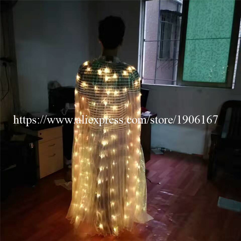 2017 Stafe Performance Prop Women Dancewear Girls DJ LED Wings Light Up Wings Belly Dance Wing Costume11