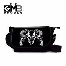 Cool School Messenger bags for Children Boys medium cross body bags skull side bags for teenagers girl mens canvas shoulder bags(China)