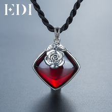 EDI 925 Sterling Silver Garnet Pendant Necklace Retro Silver Flower Necklace for Women(China)